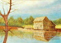 """The Mill. Oil. First place in """"Mill as Muse Contest"""" of Yates Mill"""