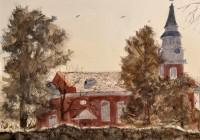 """Binkley Chapel, Wake Forest (12""""x16"""" WC)"""