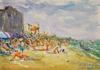 Beach Scene. Myrtle Beach SC. 9×12. Watercolor on paper. Plein Air.