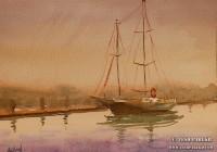 """Dusk- New Bern"". 9×12. Watercolor on paper."