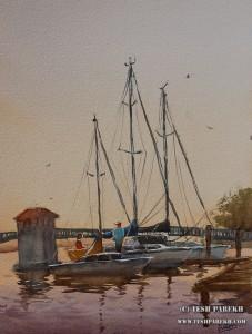 """Docked- New Bern"". 16×12. Watercolor on paper."