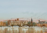"""""""New Bern Morning"""". 12×21. Watercolor on paper."""