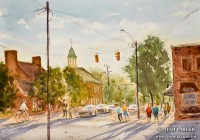 """""""Chapel Hill Afternoon"""". 12×16. Watercolor on paper. Plein air."""