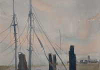 Dusk, Southport. Watercolor painting on paper.
