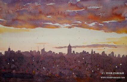 NYC Morning. 14x22. Watercolor on paper. Artist - Tesh Parekh