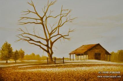 Evening at Joyner Park. Watercolor. Artist - Tesh Parekh