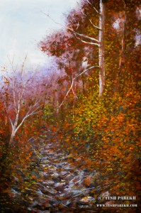 Secret Creek Autumn. Gouache on paper. 21x14. Artist - Tesh Parekh