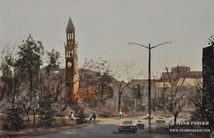 UNC Bell Tower. Plen air. Watercolor. 14x21.
