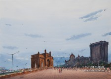 Gateway of India. Watercolor painting on paper.