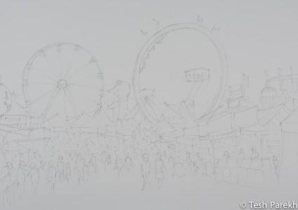 State Fair #5. Pencil drawing for the watercolor.
