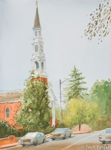 Chapel Hill University UMC. 9x12. Watercolor painting on paper.