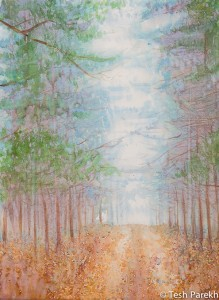 Autumn Mist. Watercolor painting on Paper. 21x28