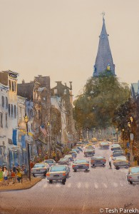 Last light, Annapolis MD. Watercolor on paper. 14x21.5