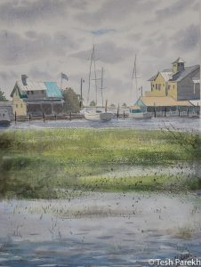 """""""View from Gazebo"""". Southport NC paintings. 12x16. Watercolor on paper. Available."""