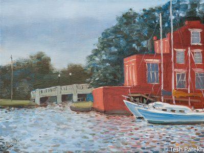 "Elizabeth City paintings. ""Mariner's Wharf"". Oil on linen."