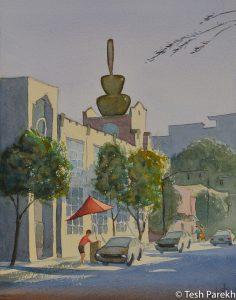 "Raleigh Art - ""Tucker Street Evening"". 14x11. Watercolor on paper."