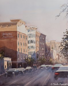 """Raleigh Art - """"Glenwood South Evening"""". Watercolor on paper. Original sold- prints available."""