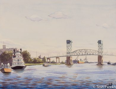 """""""Henrietta III, Wilmington NC"""". 12.5x16.5. Plein Air Watercolor painting on paper. Available. Wilmington Paintings."""