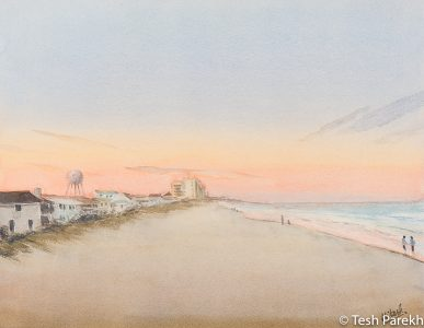 """""""Wrightsville Beach Evening"""". 14x18. Watercolor painting on paper. Available. Wilmington Paintings."""