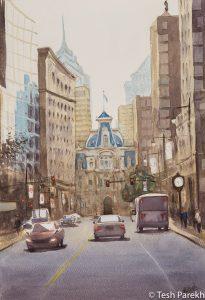 """Philadelphia City Hall"". Watercolor painting on paper. 19x13. Philadelphia paintings"