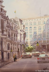 """""""City Hall Afternoon, Philadelphia"""". Watercolor painting on paper. 19x13. Available. Philadelphia paintings."""