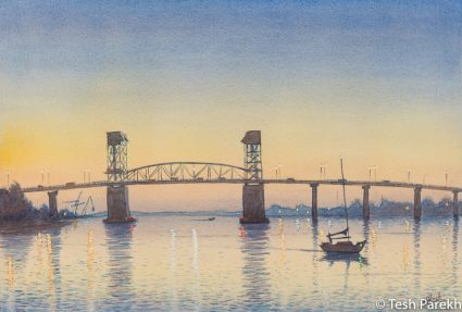 """""""Cape Fear Memorial Bridge"""". 13x19. Watercolor painting on paper. Available. Wilmington Paintings."""