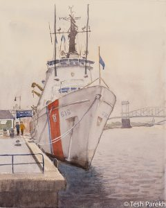 """""""USCGC Diligence"""". 14x11. Plein Air Watercolor painting on paper. Available. Wilmington Paintings."""