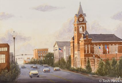 """""""New Hanover County Courthouse"""". 13x19. Watercolor painting on paper. Available. Wilmington Paintings."""