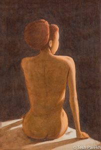 """Figurative paintings. """"Nude"""". 21x14. Watercolor on paper. Available."""