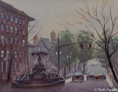 """""""Kenan Memorial Fountain, Wilmington"""". 11x14. Plein Air Watercolor painting on paper. Available. Wilmington Paintings."""